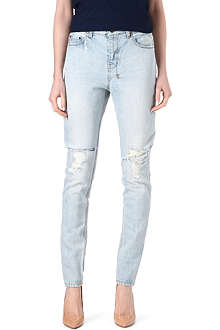 KSUBI Distressed tapered mid-rise jeans