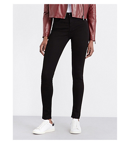 J BRAND 23110 Maria sateen skinny mid-rise jeans (Black