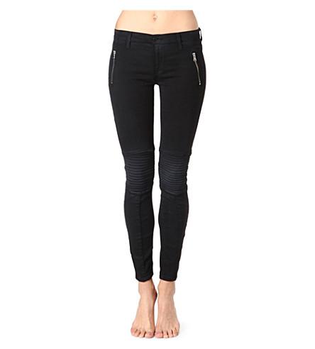 HUDSON JEANS Venus Moto skinny mid-rise jeans (Black/blue