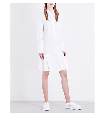 VICTORIA VICTORIA BECKHAM Pleated cotton-poplin shirt dress (White