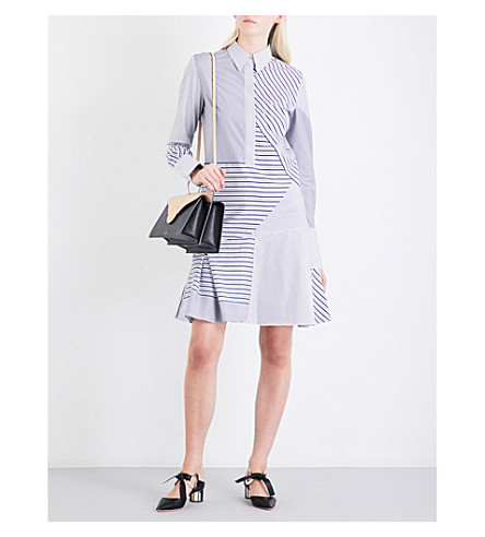 VICTORIA VICTORIA BECKHAM Flared-hem contrast-stripe cotton dress (Black/navy/white