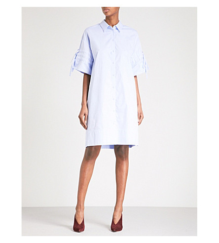 VICTORIA VICTORIA BECKHAM Gathered-sleeve crepe and silk dress (Oxford+blue