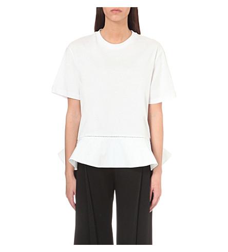 VICTORIA VICTORIA BECKHAM Flounce Hem cotton-jersey t-shirt (White