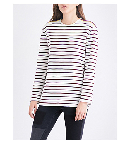 VICTORIA VICTORIA BECKHAM Button-detail striped cotton top (Ivory/burgundy