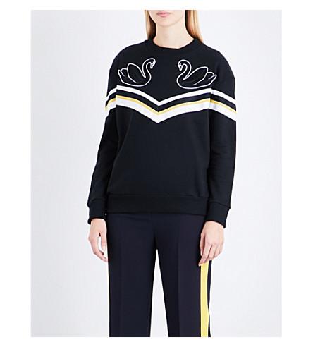 VICTORIA VICTORIA BECKHAM Swan-embroidered cotton-jersey sweatshirt (Black/multi+swan+stripe