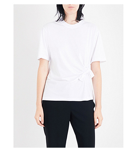 VICTORIA VICTORIA BECKHAM Knot-detail cotton-jersey T-shirt (White