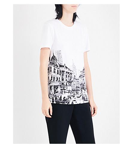 VICTORIA VICTORIA BECKHAM London-print cotton-jersey T-shirt (White/black+londonscape