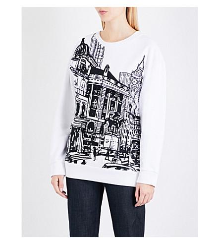VICTORIA VICTORIA BECKHAM London-embroidered oversized cotton-jersey sweatshirt (White+lononscape