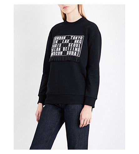 VICTORIA VICTORIA BECKHAM Oversized cotton-jersey sweatshirt (Black/departure+board