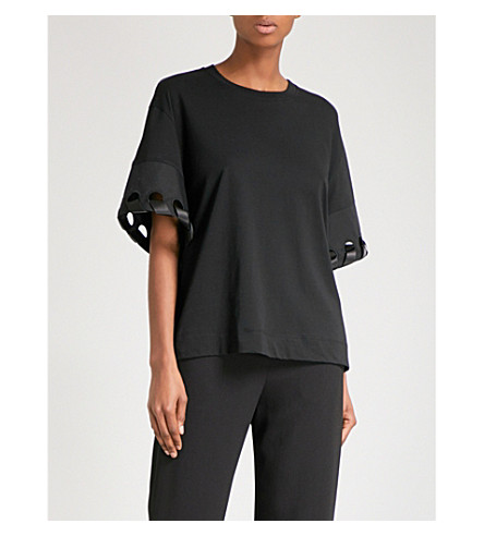 VICTORIA VICTORIA BECKHAM Laced-sleeve cotton-jersey top (Black