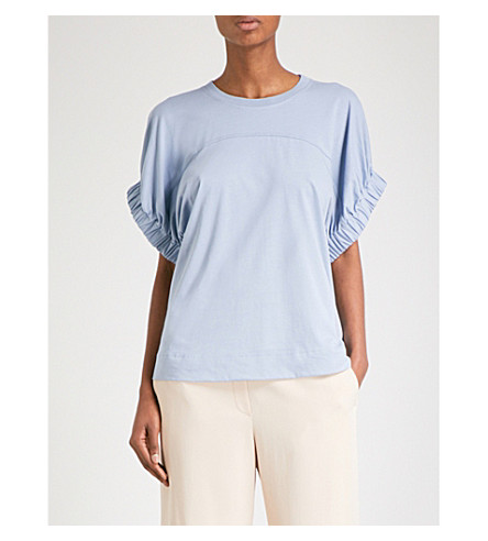 VICTORIA VICTORIA BECKHAM Pleated-sleeve cotton-jersey top (Storm