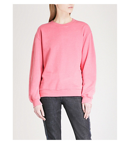 VICTORIA VICTORIA BECKHAM Relaxed-fit cotton-blend sweatshirt (Milkshake