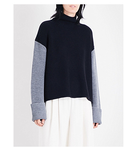 VICTORIA VICTORIA BECKHAM Turtleneck colourblock merino wool jumper (Black/darkgrey/indigo
