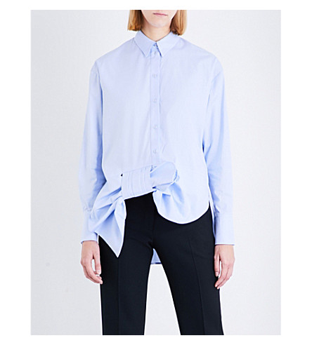 VICTORIA VICTORIA BECKHAM Asymmetric Tuxedo Bow cotton-poplin shirt (Oxford+blue