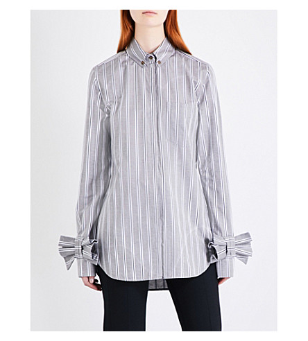 VICTORIA VICTORIA BECKHAM Striped bow-cuff cotton shirt (Grey/white