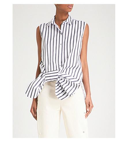 VICTORIA VICTORIA BECKHAM 弓-细节无袖棉衬衫 (白色/黑色