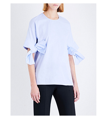 VICTORIA VICTORIA BECKHAM Bow-sleeve cotton-poplin top (Oxford+blue