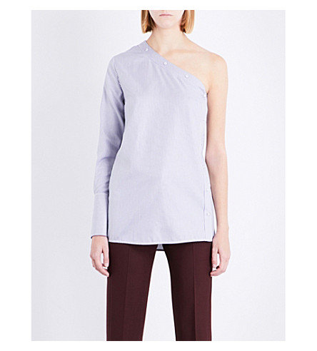 VICTORIA VICTORIA BECKHAM One Side Sleeve cotton-poplin top (White/midnight