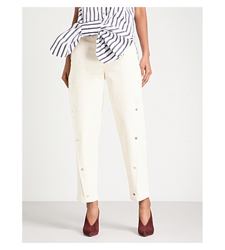 VICTORIA VICTORIA BECKHAM Snap button-detail tapered stretch-cotton trousers (Champagne