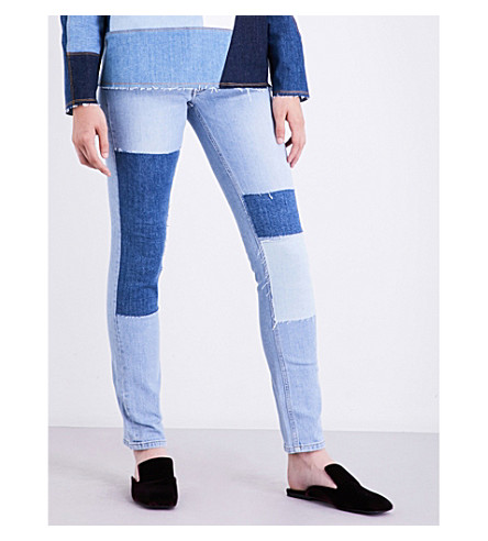 VICTORIA VICTORIA BECKHAM Patchwork-panel straight mid-rise jeans (Byp+bay+patch