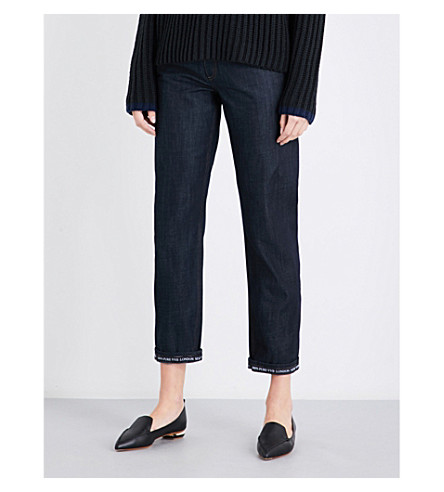 VICTORIA VICTORIA BECKHAM Tapered high-rise jeans (Dark+raw