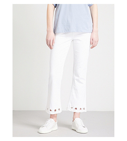VICTORIA VICTORIA BECKHAM Eyelet-detail flared high-rise jeans (Bright+white
