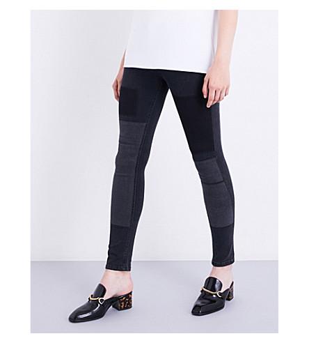 VICTORIA VICTORIA BECKHAM Panel-detail slim mid-rise jeans (Dusk+patch