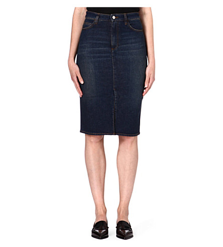 VICTORIA BECKHAM DENIM Denim pencil skirt (Ink