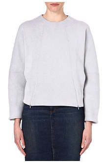 VICTORIA BECKHAM DENIM Zip-detailed sweatshirt