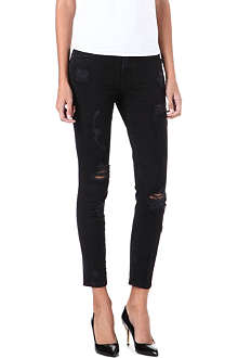 CURRENT/ELLIOTT The Stiletto distressed skinny mid-rise jeans