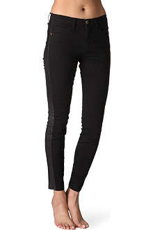 CURRENT/ELLIOTT Leather-panelled skinny jeans