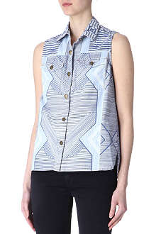CURRENT/ELLIOTT Mary Katrantzou denim top