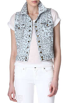 CURRENT/ELLIOTT Leopard-print denim gilet