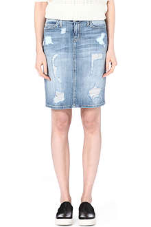 CURRENT/ELLIOTT The Stiletto distressed denim skirt