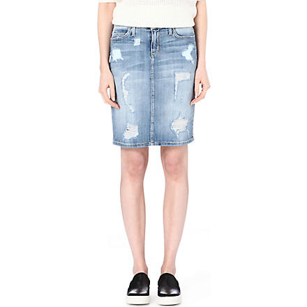 CURRENT/ELLIOTT The Stiletto distressed denim skirt (Shredded