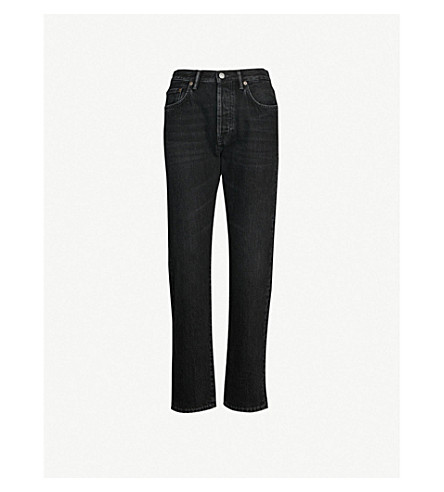 ACNE STUDIOS 1997 mid-rise faded straight-leg jeans (Black metal