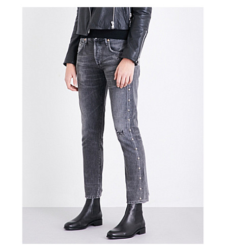 CITIZENS OF HUMANITY Emerson stud-embellished slim-fit boyfriend mid-rise jeans (Studded+hideout