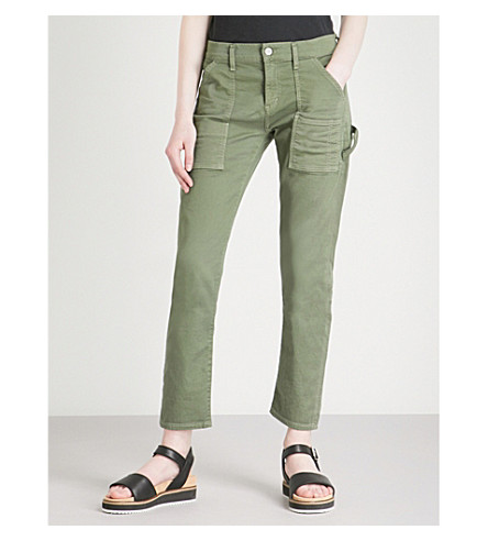 CITIZENS OF HUMANITY Leah straight cropped stretch-cotton trousers (Canopy+green