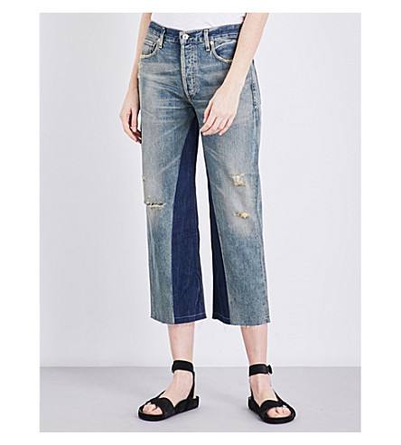 CITIZENS OF HUMANITY Cora cropped high-rise patchwork jeans (Livingston