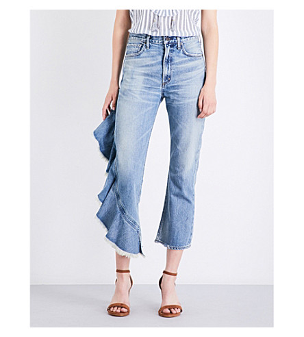 CITIZENS OF HUMANITY Estella Side Ruffle flared high-rise jeans (Caliente