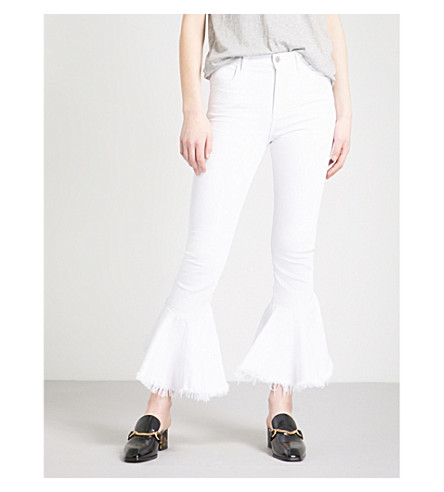 CITIZENS OF HUMANITY Drew raw-hem flared high-rise jeans (Optic+white