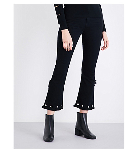 CITIZENS OF HUMANITY Drew frayed-hem flared high-rise jeans (Studded+soiree