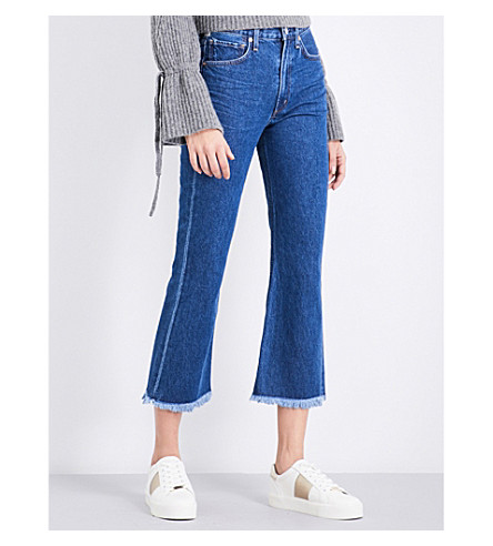 CITIZENS OF HUMANITY Estella frayed-hem flared cropped high-rise jeans (Ocean+blue
