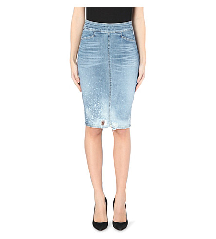 citizens of humanity distressed stretch denim skirt