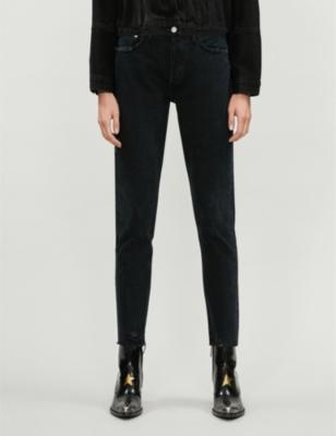 Jamie raw-hem straight high-rise jeans