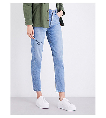 AGOLDE Jamie embroidered high-rise jeans (The+end