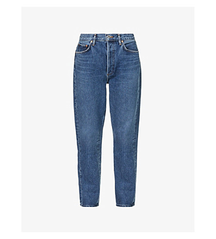AGOLDE Riley straight cropped mid-rise jeans (Air+blue
