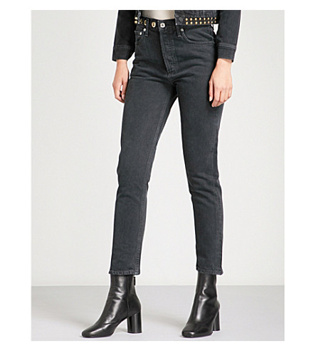 AGOLDE Riley straight cropped high-rise jeans (Black+heart
