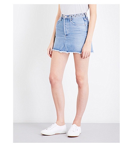 AGOLDE Quinn fitted high-rise denim skirt (Studded+devotee