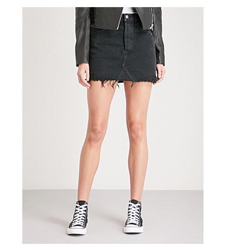 AGOLDE Quinn fitted high-rise denim mini skirt (Black+rock